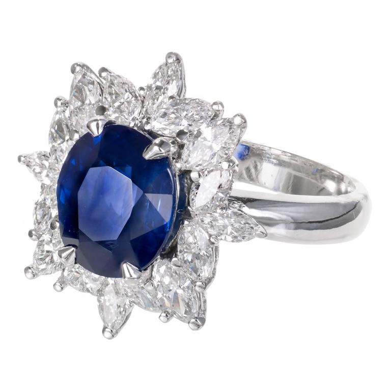 3.93 Carat Royal Blue Sapphire Marquise Diamond Platinum Engagement Ring 2