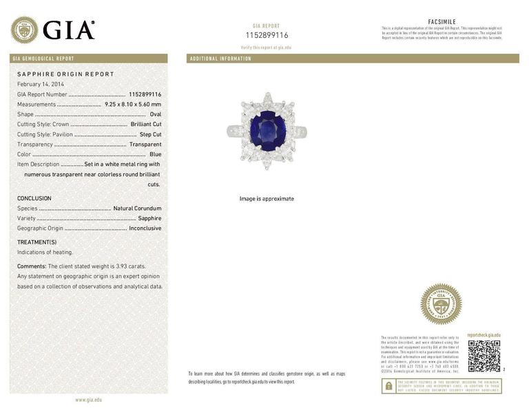 3.93 Carat Royal Blue Sapphire Marquise Diamond Platinum Engagement Ring 5
