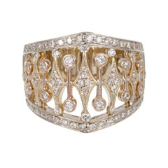 Parviz .70 Carat Diamond Tri Color Gold Wide Band Ring