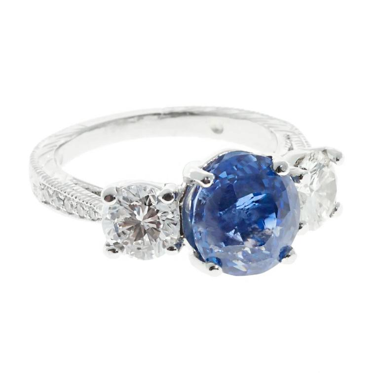 Peter Suchy GIA Cert Blue Sapphire Diamond Platinum Three Stone Engagement Ring