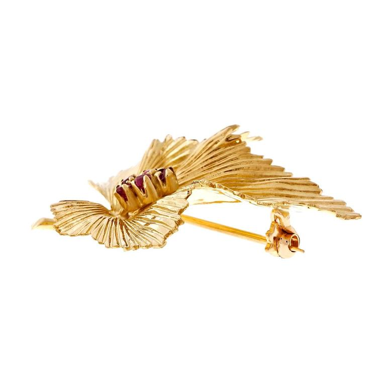 Tiffany & Co. Ruby Gold Leaf Pin  3
