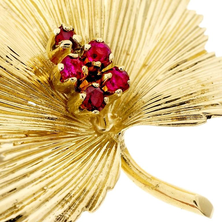 Tiffany & Co. Ruby Gold Leaf Pin  2