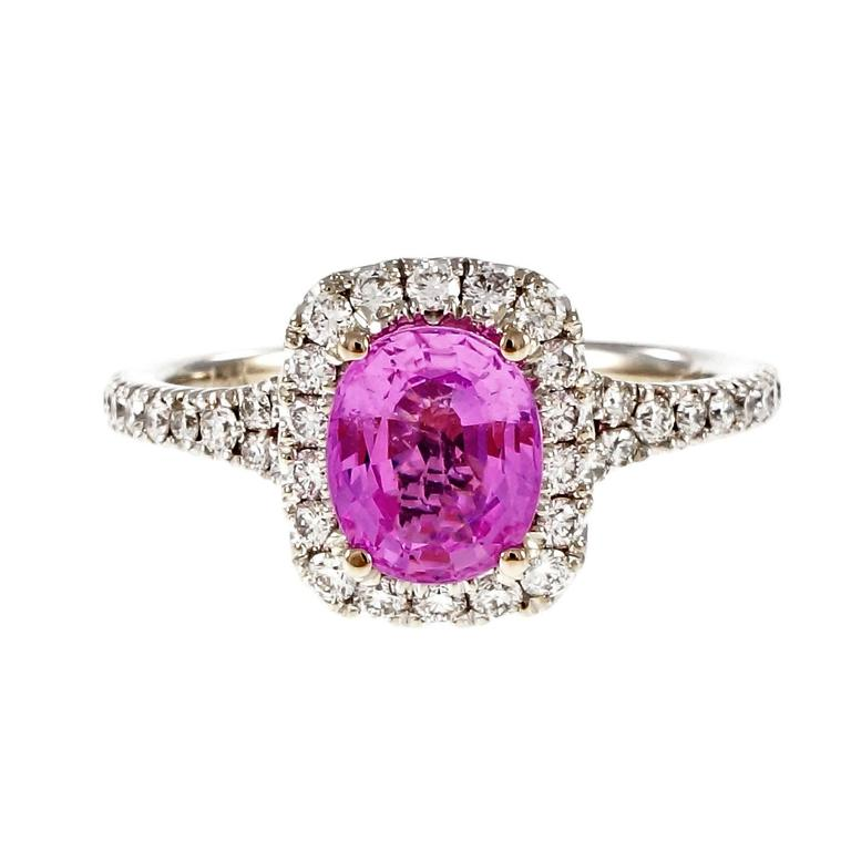Peter Suchy Hot Pink Sapphire Diamond Halo Gold Engagement Ring  For Sale