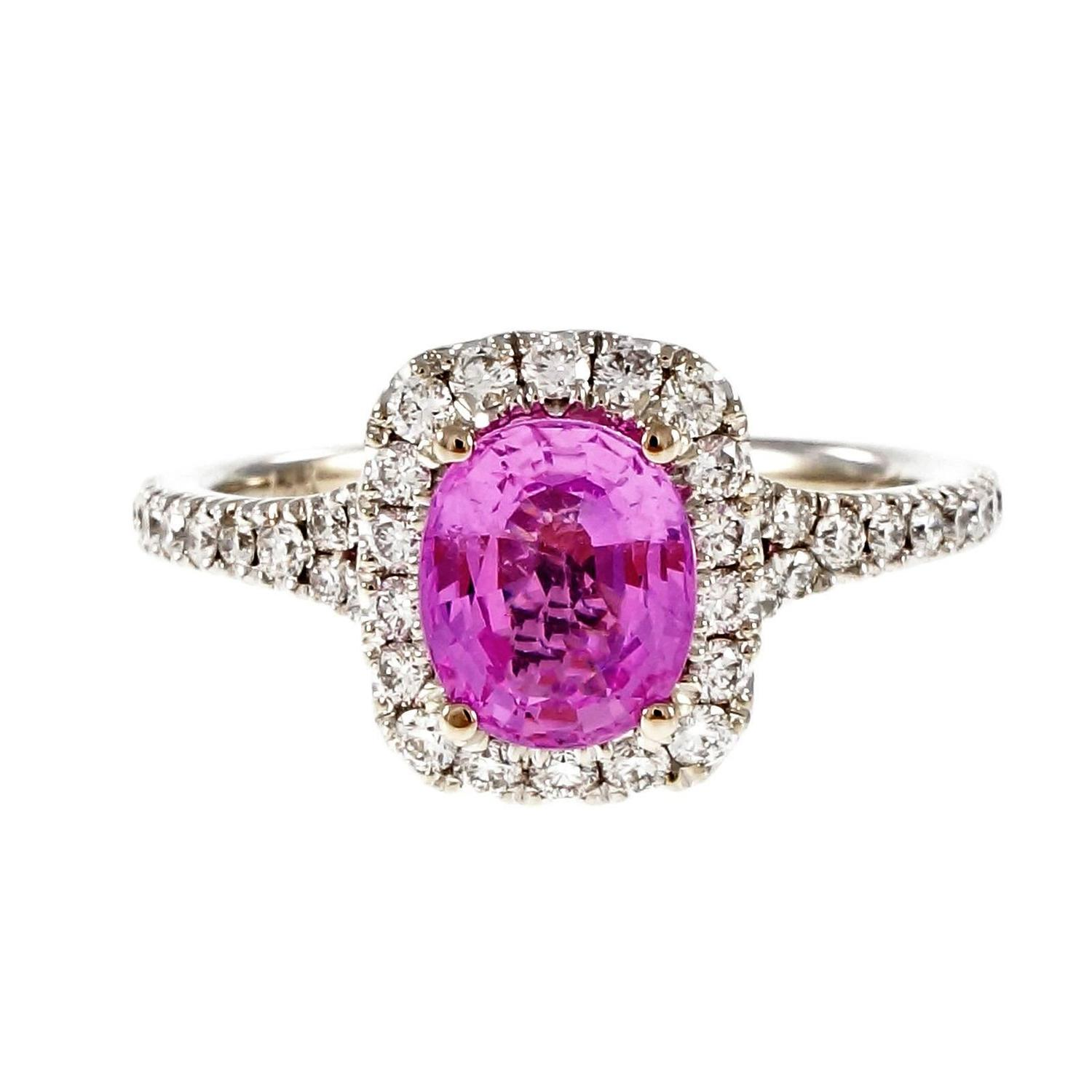 Peter Suchy Hot Pink Sapphire Diamond Halo Gold Engagement