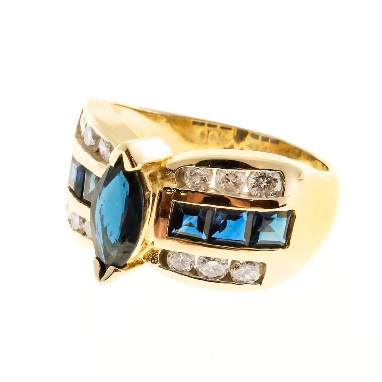 Women's Marquise Sapphire Diamond Gold Ring  For Sale