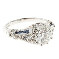 Peter Suchy Round 1.51 Carat diamond Sapphire Engagement Platinum Ring