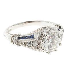 Peter Suchy Round 1.51 Carat diamond Sapphire Engagement Platinum Ring