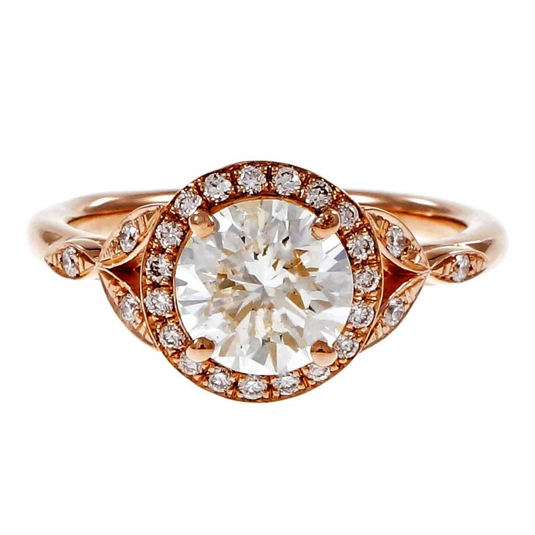 Peter Suchy 1.37 Carat GIA Certified Diamond Halo Gold Engagement Ring 1