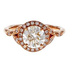 Peter Suchy 1.37 Carat GIA Certified Diamond Halo Gold Engagement Ring