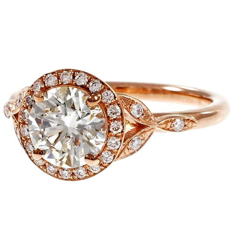 Peter Suchy 1.37 Carat GIA Certified Diamond Halo Gold Engagement Ring 2