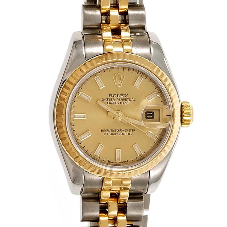 Rolex Ladies Gold Steel Datejust Wristwatch Ref 179173