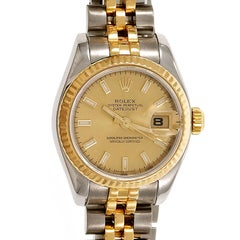 Rolex Ladies Gold Steel Datejust Wristwatch Ref 179173