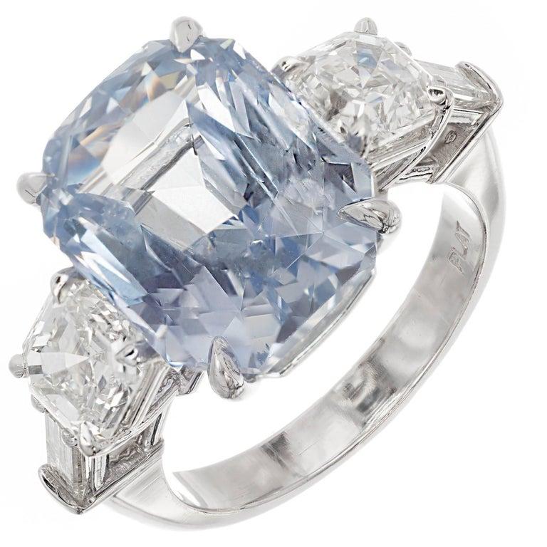 Peter Suchy 13.25 Carat Light Blue Sapphire Diamond Platinum Engagement Ring