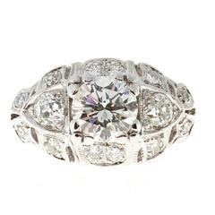 1.10 Carat Transitional Cut Diamond White Gold Engagement Ring