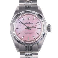 Rolex Ladies Stainless Steel Oyster Perpetual Custom Dial Wristwatch Model 6718
