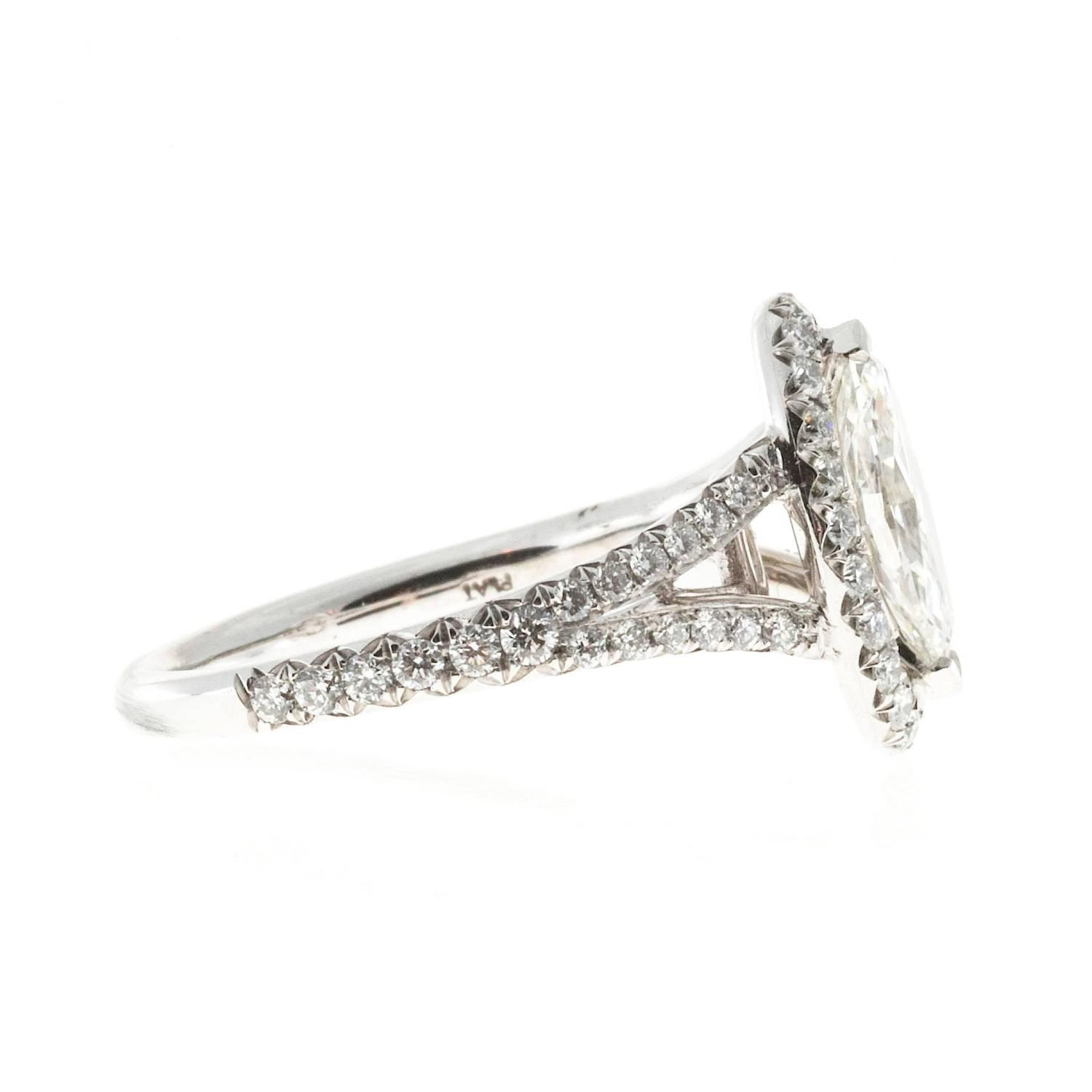 Peter Suchy Oval Halo Marquise Diamond Engagement Ring For Sale at 1stdibs