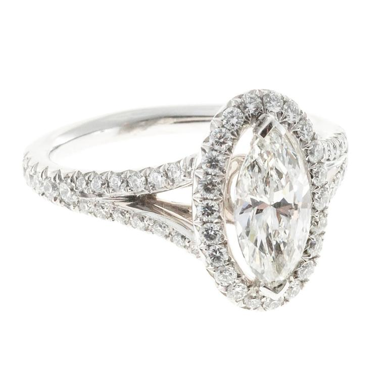 Peter Suchy .99 Carat Marquise Diamond Halo Platinum Engagement Ring In Good Condition For Sale In Stamford, CT