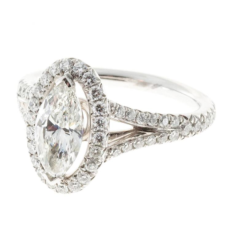 Peter Suchy .99 Carat Marquise Diamond Halo Platinum Engagement Ring For Sale 1