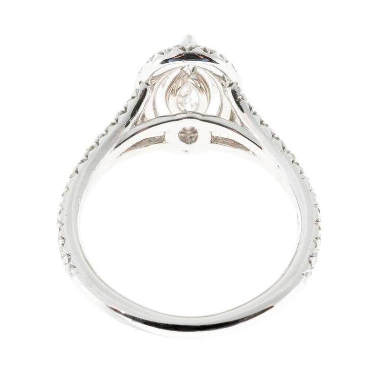 Peter Suchy .99 Carat Marquise Diamond Halo Platinum Engagement Ring For Sale 2