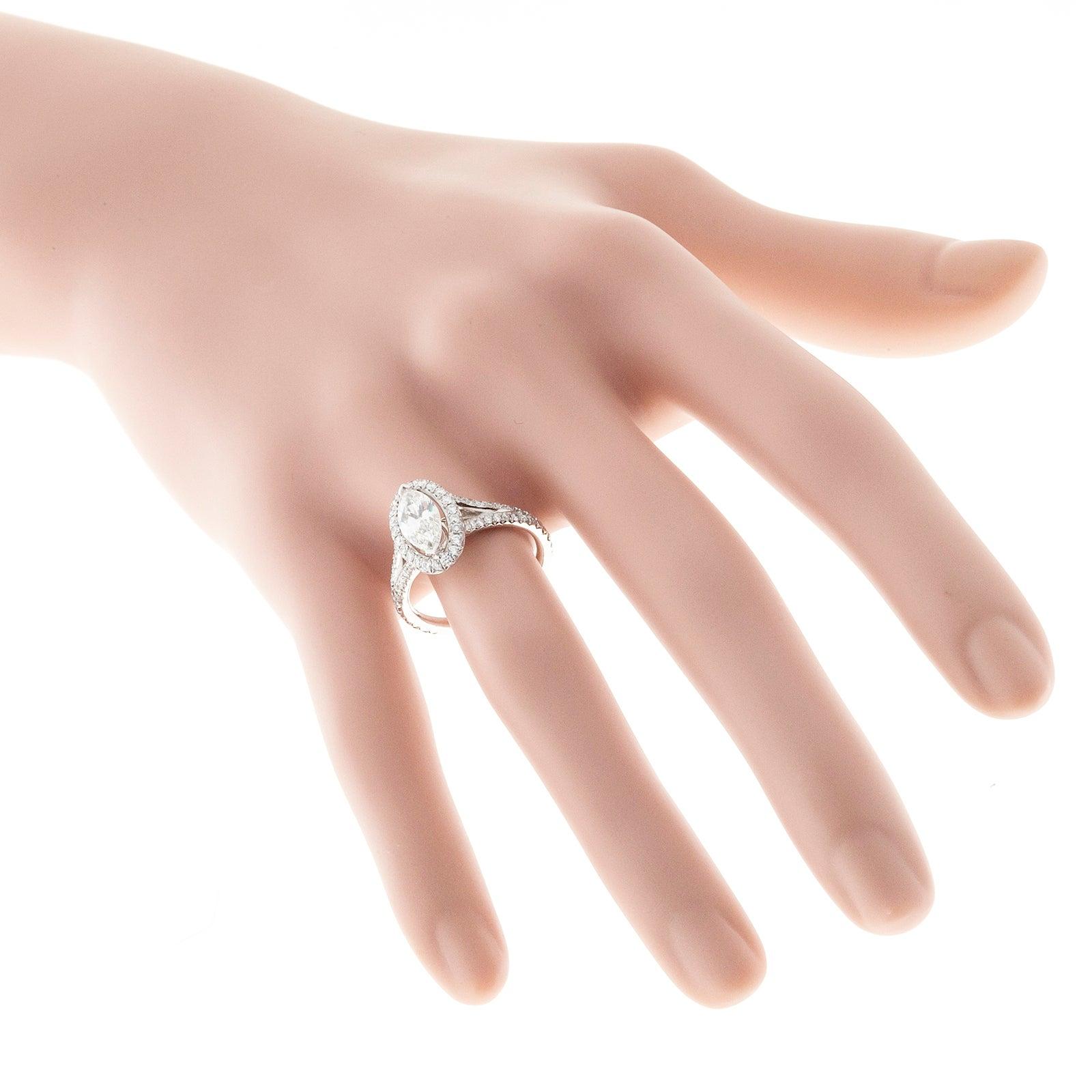 Peter Suchy .99 Carat Marquise Diamond Halo Platinum Engagement Ring ...
