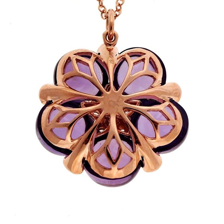 Cabochon Amethyst Garnet Diamond Rose Gold Pendant Necklace 6