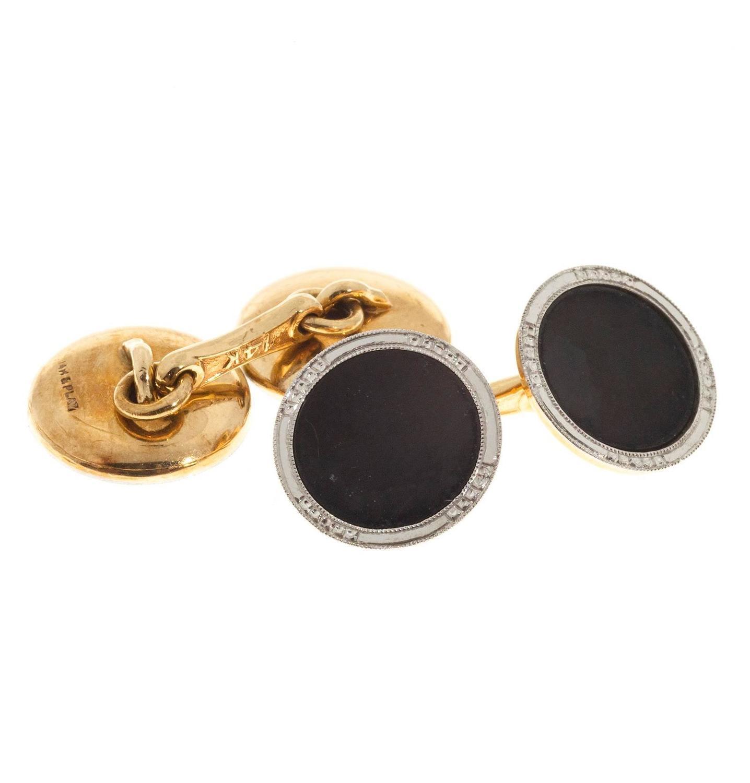 Double Gold Platinum: Art Deco Onyx Concave Double Sided Gold Platinum Cufflinks