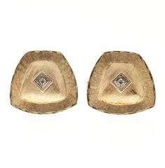 Shield Shaped Diamond Florentine Gold Cufflinks