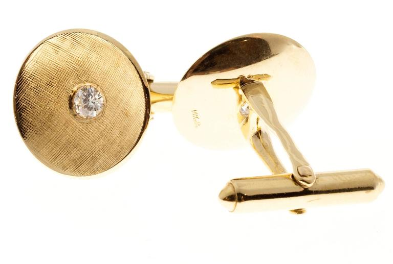 Larter & Sons Diamond Round Concave Gold Cufflinks. Circa 1940's 