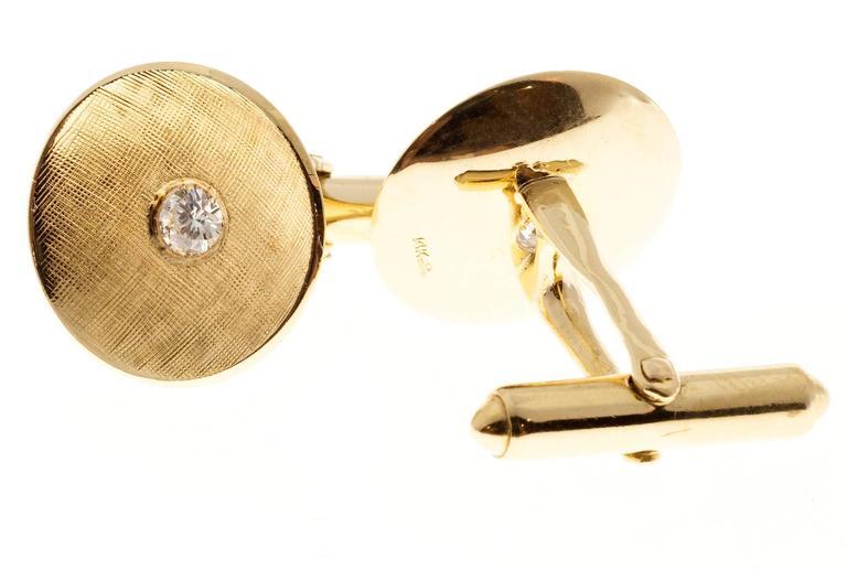 Larter & Sons Diamond Round Concave Gold Cufflinks 2