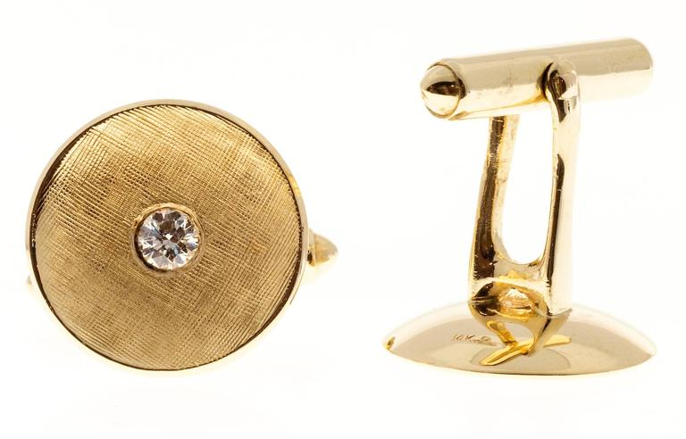 Men's Larter & Sons Diamond Round Concave Gold Cufflinks For Sale