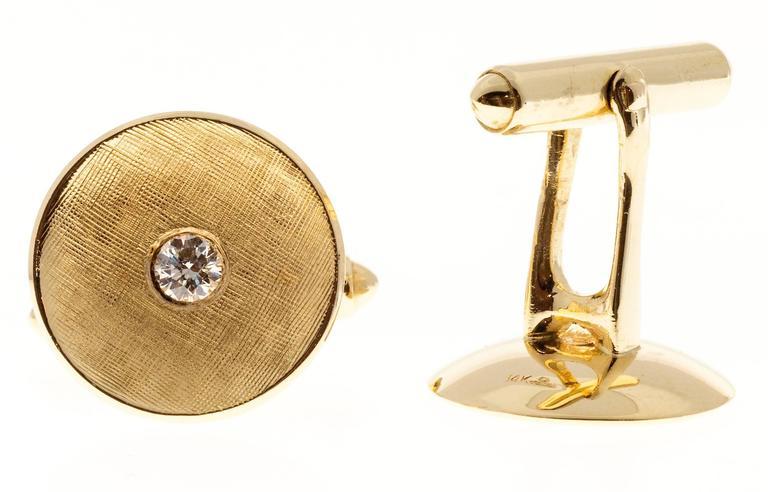 Larter & Sons Diamond Round Concave Gold Cufflinks 4