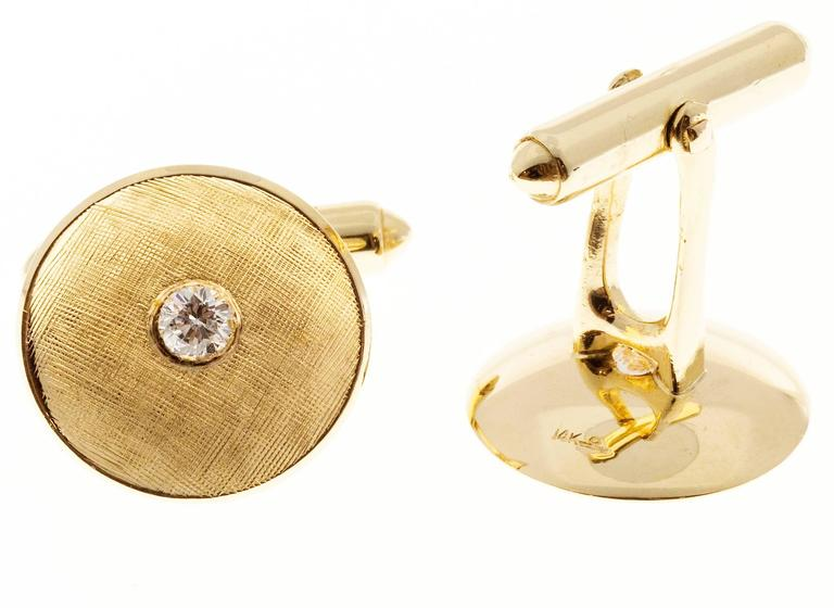 Larter & Sons Diamond Round Concave Gold Cufflinks For Sale 1