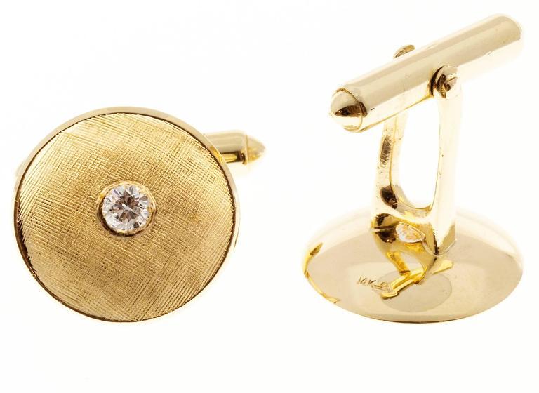Larter & Sons Diamond Round Concave Gold Cufflinks 5