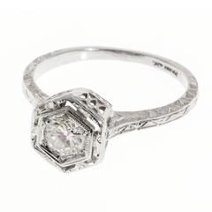 Art Deco Diamond Transitional Cut Filigree Gold Engagement Ring