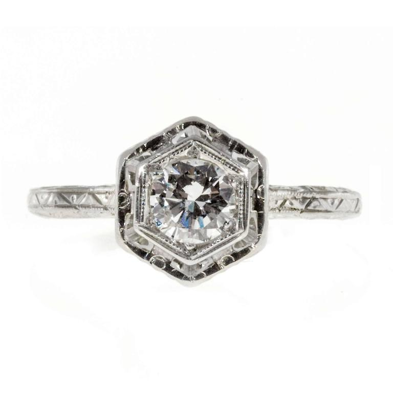 Art Deco Diamond Transitional Cut Filigree Gold Engagement Ring For Sale at 1