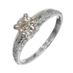 .57 Carat Light Brown Diamond Art Deco Platinum Engagement Ring