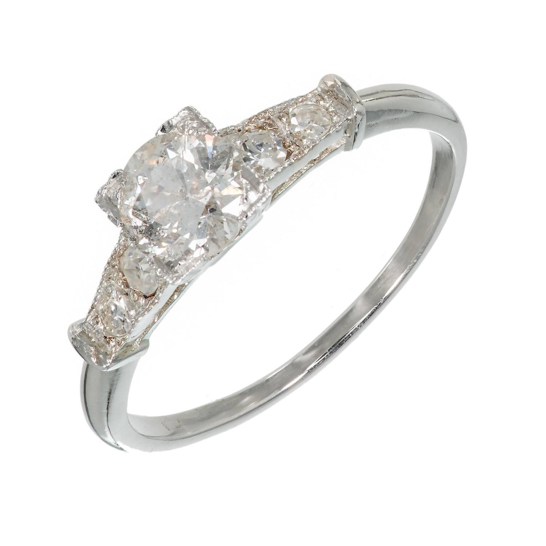 1930s Art Deco Natural Faint Gray Diamond Platinum Engagement Ring For Sale a