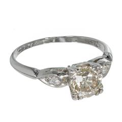 Art Deco Natural Yellow Diamond 3 Stone Platinum Ring