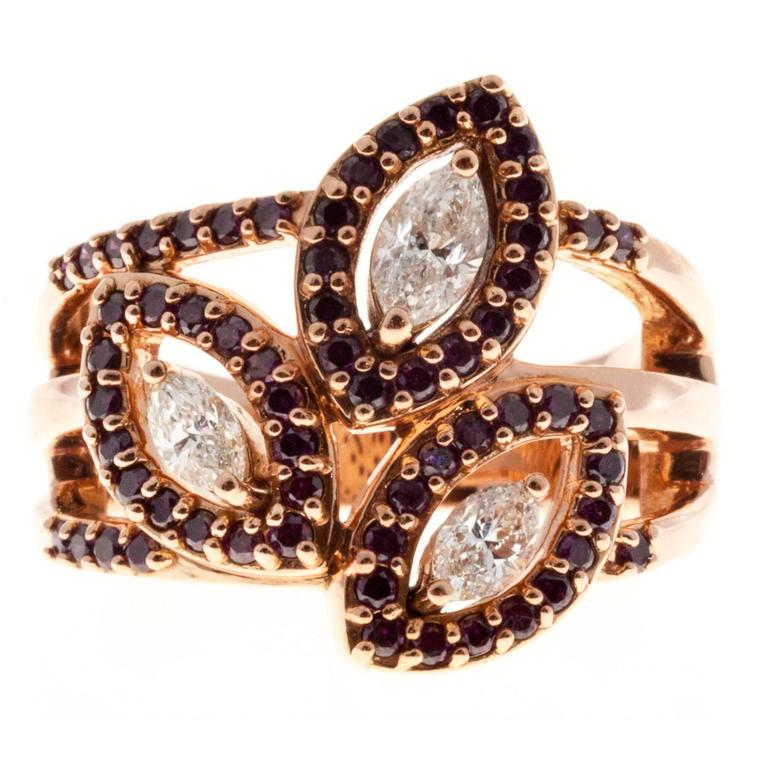 Marquise Diamond Ruby Gold Ring