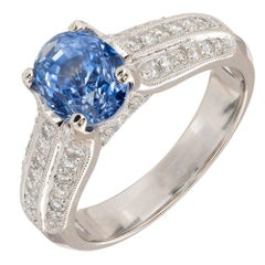 Gia Certified 2.64 Carat Oval Sapphire Diamond Gold Engagement Ring