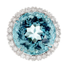 25.50 Carat Santa Maria Round Aquamarine Diamond Halo Gold Cocktail Ring