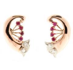 Art Deco Ruby Diamond Rose White Gold Swirl Earrings