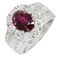 Hammerman Brothers Ruby Diamond Platinum Engagement Ring