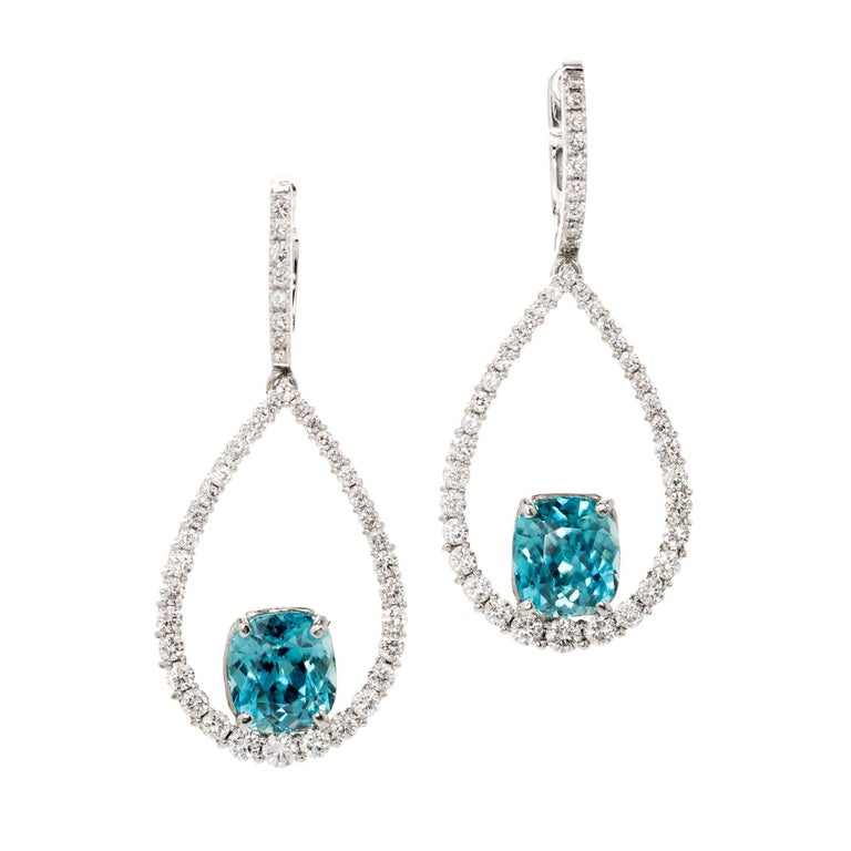 Peter Suchy 6.97 Carat Teal Blue Zircon Diamond Dangle Gold Earrings