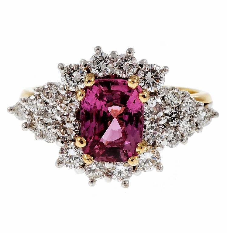 Natural Hot Pink Sapphire Diamond Gold Platinum Cocktail Engagement Ring