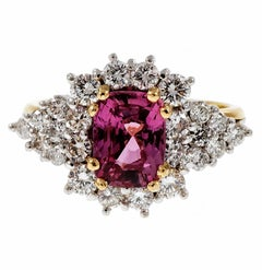 Natural Hot Pink Sapphire Diamond Gold Platinum Cocktail Engagement Ring