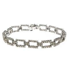 Diamond Rectangle Link Gold Bracelet