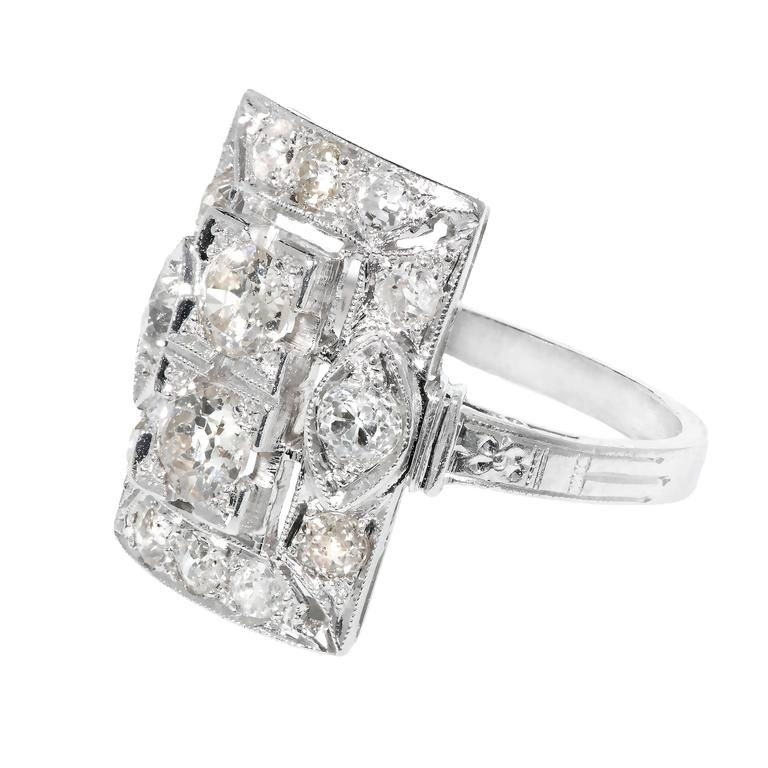 Art Deco Old European Cut Diamond Platinum Ring  Circa 1920