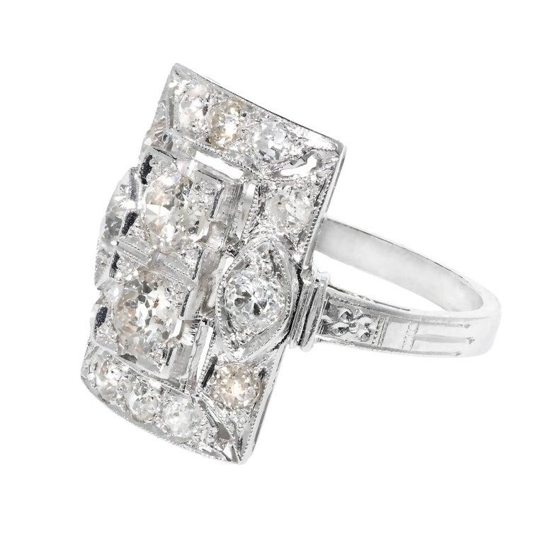Art Deco Old European Cut Diamond Platinum Ring  Circa 1920