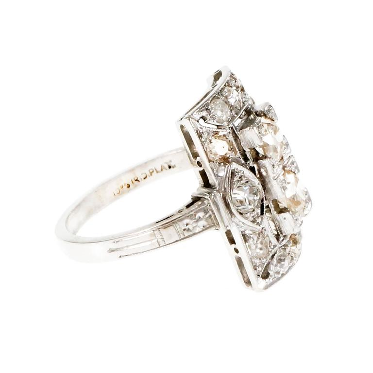 Art Deco Old European Cut Diamond Platinum Ring  Circa 1920 In Good Condition In Stamford, CT